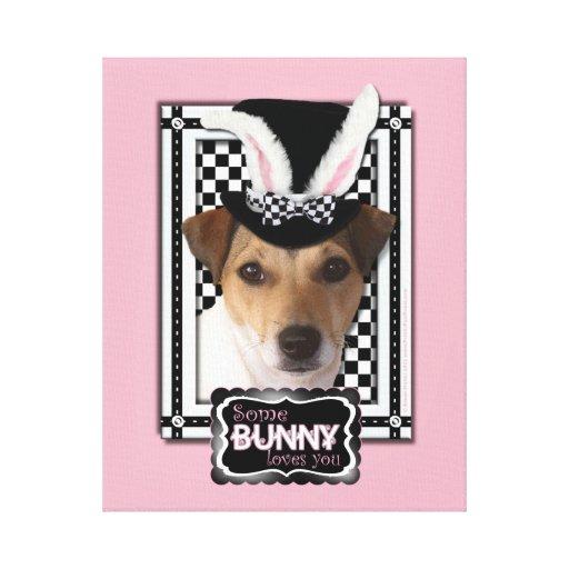 Pascua - algún conejito le ama - Jack Russell Lona Envuelta Para Galerias