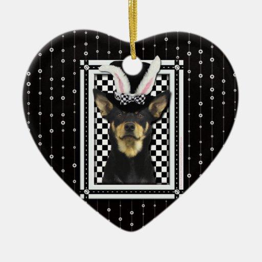 Pascua - algún conejito le ama - Kelpie Adorno De Cerámica En Forma De Corazón