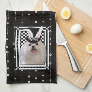 Pascua - algún conejito le ama - maltesa toalla de cocina