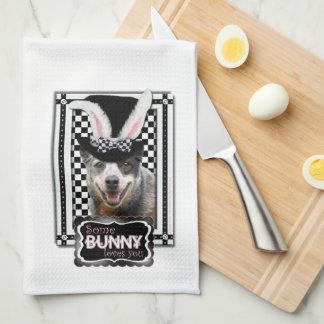 Pascua algún conejito le ama perro australiano del toalla