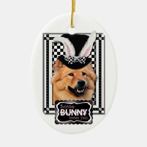 Pascua - algún conejito le ama - perro chino de adorno ovalado de cerámica