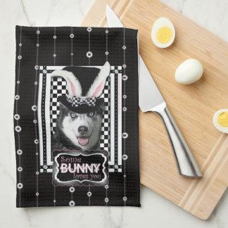 Pascua - algún conejito le ama - perro esquimal toallas