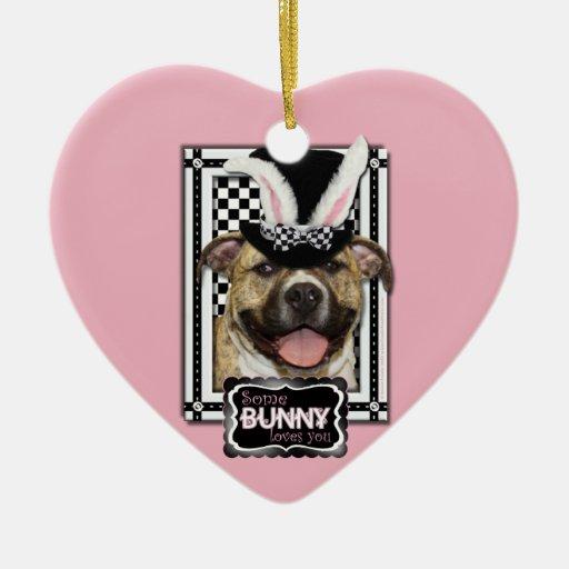 Pascua - algún conejito le ama - Pitbull Ornaments Para Arbol De Navidad