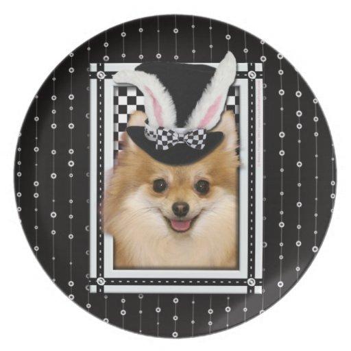 Pascua - algún conejito le ama - Pomeranian Plato Para Fiesta