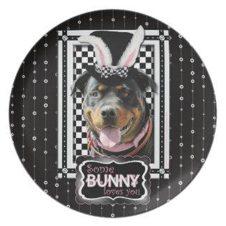 Pascua - algún conejito le ama - Rottweiler Plato De Comida