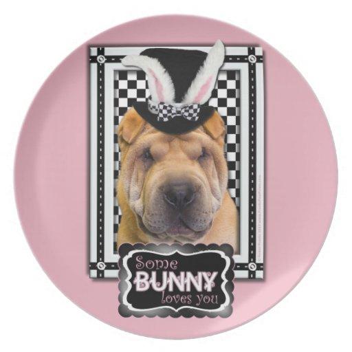 Pascua - algún conejito le ama - Shar Pei Platos De Comidas