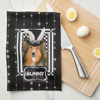 Pascua - algún conejito le ama - Sheltie Toalla De Cocina