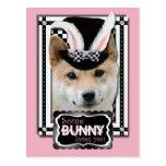 Pascua - algún conejito le ama - Shiba Inu Tarjeta Postal