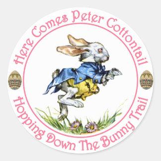 Pascua - aquí viene el conejo de rabo blanco de etiqueta redonda