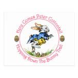 Pascua - aquí viene el conejo de rabo blanco de postal