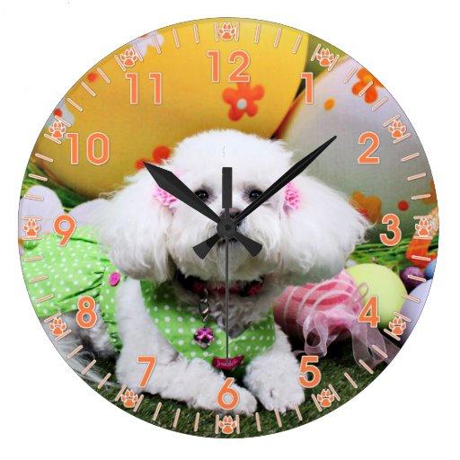 Pascua - Bichon Frise - Mia Reloj De Pared
