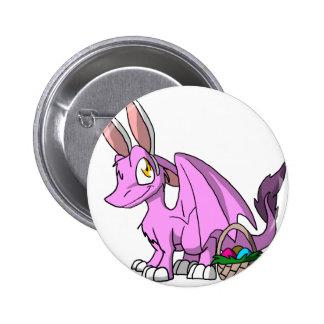 Pascua Bubblegum/dragón peludo rosado del SD Pin Redondo De 2 Pulgadas