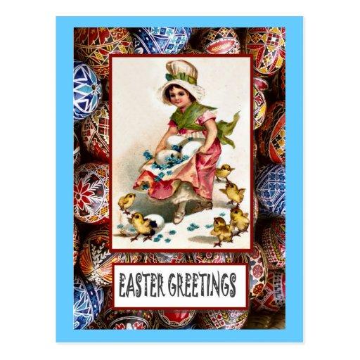 Pascua - chica con los polluelos y los huevos tarjetas postales