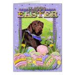 Pascua - chocolate Labrador - Hershey Felicitacion
