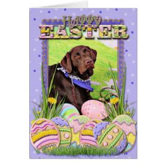 Pascua - chocolate Labrador - Hershey Tarjeta De Felicitación