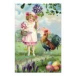 Pascua coloreó la margarita pintada del gallo del  impresión fotográfica