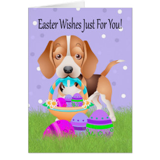Pascua con el pequeños beagle y huevos de Pascua Tarjeta De Felicitación