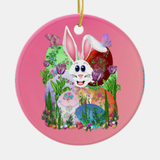 ¡Pascua!  Consiga en ella… Ornamentos Adorno Redondo De Cerámica