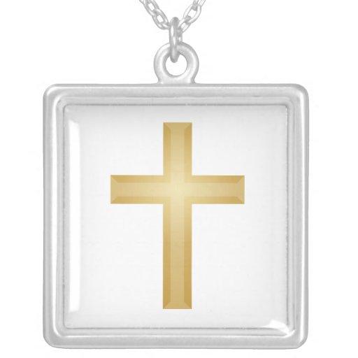 Pascua/cruz del cristiano del oro colgante cuadrado