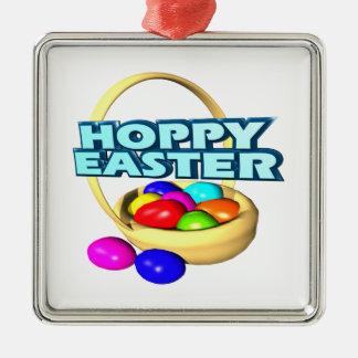 Pascua de lúpulo adorno cuadrado plateado