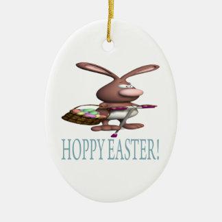 Pascua de lúpulo adorno ovalado de cerámica