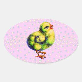 Pascua de poco pío calcomanías de ovales personalizadas