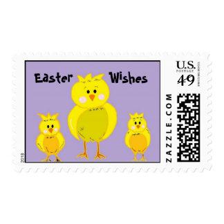 Pascua desea pollos sellos postales