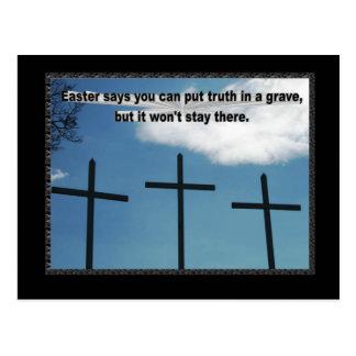 Pascua dice que la verdad no permanecerá en un tarjeta postal