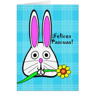 Pascua en español, Felices Pascuas, conejito lindo Tarjeta De Felicitación