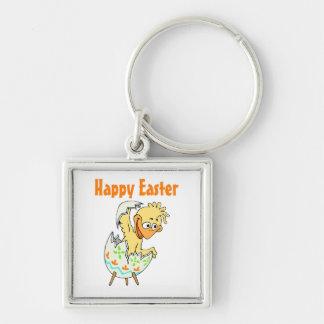 Pascua feliz (5) llavero cuadrado plateado
