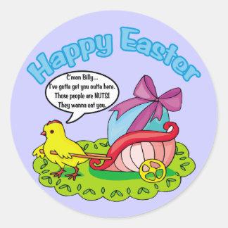 Pascua feliz 5 pegatinas redondas