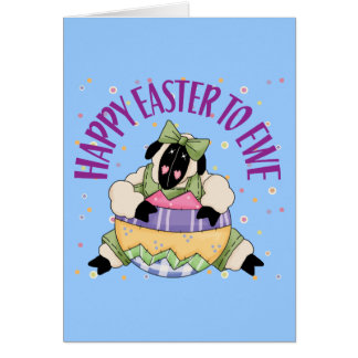 Pascua feliz a la oveja tarjeta de felicitación
