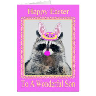 Pascua feliz a la tarjeta de felicitación del hijo