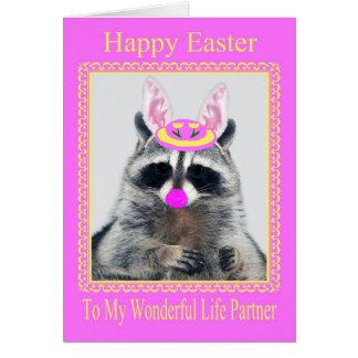 Pascua feliz a la tarjeta de felicitación del soci