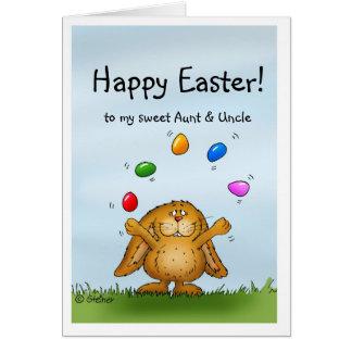 Pascua feliz a mi tía y tío - conejito que hace ju tarjeton
