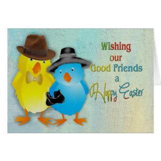 Pascua feliz a nuestros buenos amigos felicitación