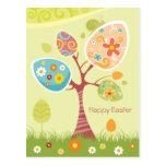 Pascua feliz - árbol abstracto tarjetas postales