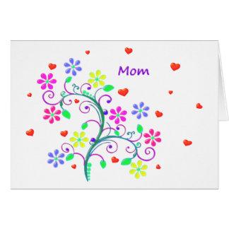 Pascua feliz brillante - floral, remolinos y tarjeta de felicitación