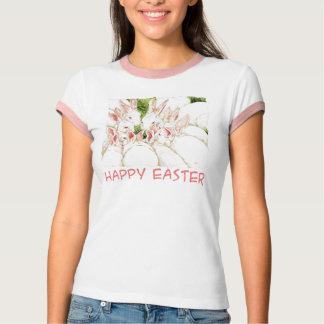 Pascua feliz - camisa blanca de los conejos