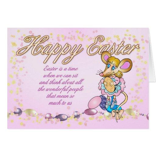 Pascua feliz con el pequeños ratón y huevo de Pasc