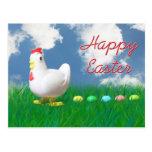 Pascua feliz con el pollo y los huevos postal