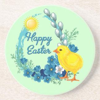 Pascua feliz con el polluelo del bebé posavasos manualidades