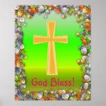 Pascua feliz con el poster cruzado