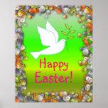 Pascua feliz con el poster de la paloma