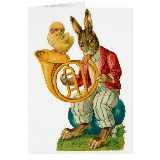 Pascua feliz con el vintage de la trompa tarjeta pequeña