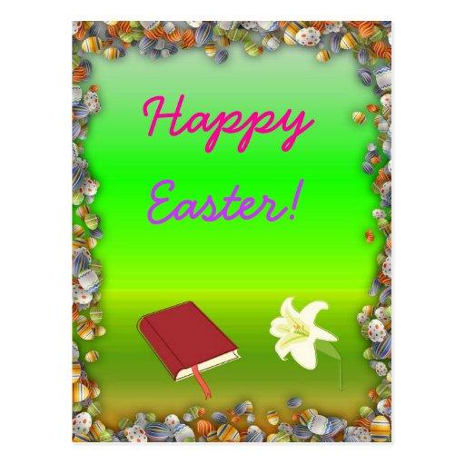 Pascua feliz con la postal de la biblia y de la fl