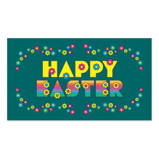 Pascua feliz con las flores tarjetas de visita