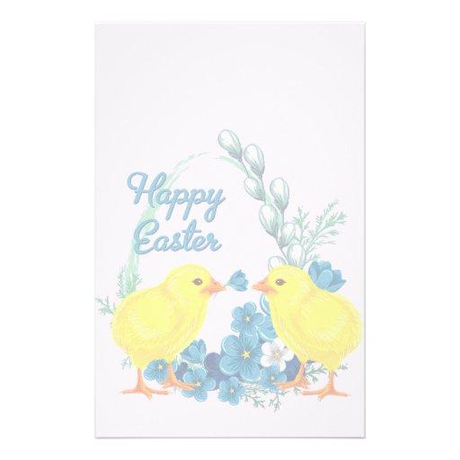 Pascua feliz con los polluelos del bebé papeleria de diseño