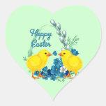 Pascua feliz con los polluelos del bebé calcomania de corazon