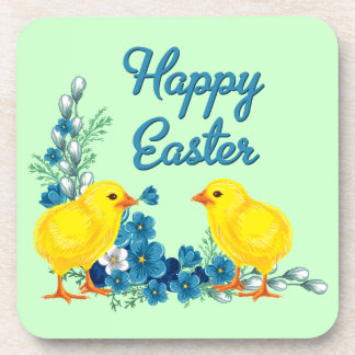 Pascua feliz con los polluelos del bebé posavasos de bebidas
